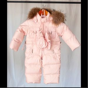 il Gufo pink snowsuit with mittens